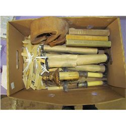 BOX OF COLLECTABLES (REEDS, COLLARS, PIANO ROLLS)