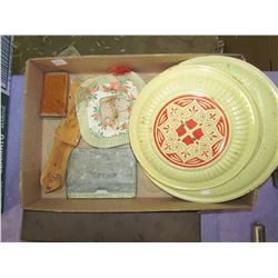 LOT OF COLLECTABLES (TINS, BOTTLE, PIANO ROLLS)