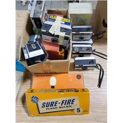 LOT OF VINTAGE CAMERAS WITH BULBS AND ACCESSORIES