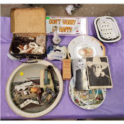 LARGE LOT OF COLLECTABLES WITH TRAYS, PLATES ETC