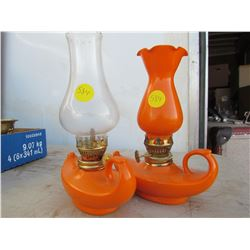 TWO SMALL COAL OIL LAMPS