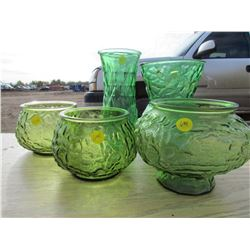 FIVE GREEN VASES