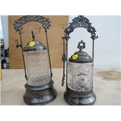 SET OF 2 PICKLE CASTERS (PRESSED GLASS)