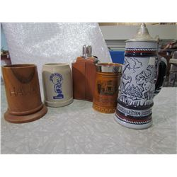 LOT OF 4 STEINS AND 1 FLASK