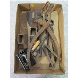 LOT OF MISCELLANEOUS TOOLS (INCLUDES GRUB HOE, TONGS, ETC)
