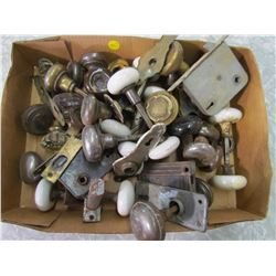 VINTAGE HARDWARE AND DOORKNOBS (SOME GLASS, SOME PORCELAIN)