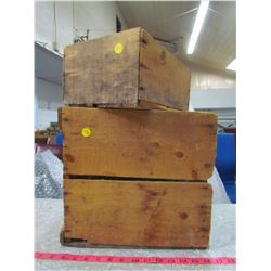 """TWO WOODEN CRATES (LARGE 12 X 12"""", SMALL 8 X 11"""")"""