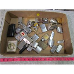 TRAY ASSORTED LIGHTERS & PACK OF TOBACCO