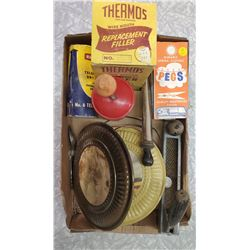 LOT OF COLLECTABLES (WITH CLOTHESPINS, THERMOS, CHOPPER, DAMPER ETC…)