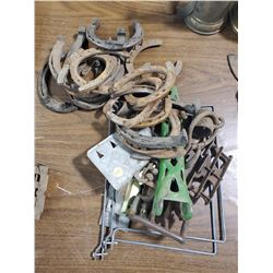 LOT OF MISC BUCKLES AND HORSESHOES