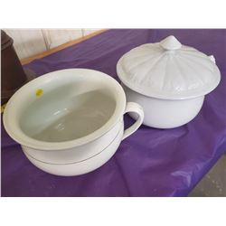 2 CHAMBER POTS, 1 WITH LID