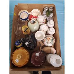 LOT OF SALT AND PEPPER SHAKERS & MISC GLASSWARE