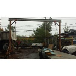 "Gantry / Lifting Jig on wheel 18'4"" x 15"" with 2 Hoist 1 ton"