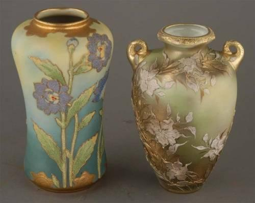 Coralene And Moriage Nippon Vases Largest 8 14