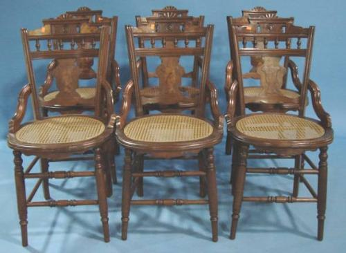 SET OF 6 VICTORIAN WALNUT CANE BOTTOM CHAIRS. Loading Zoom