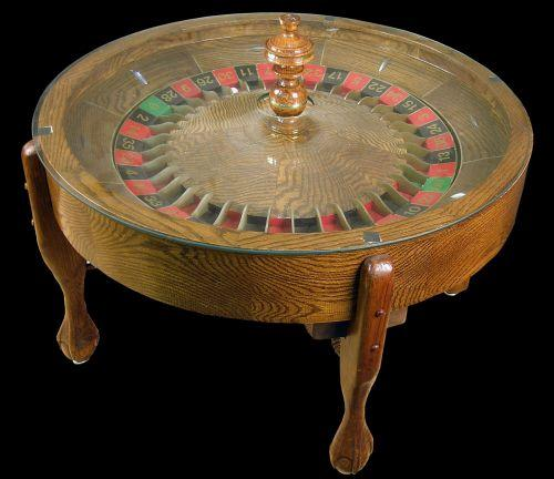 All oak Roulette wheel Coffee Table