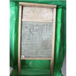 "WOOD AND GLASS WASHBOARD (VINTAGE) *24"" X 12""*"