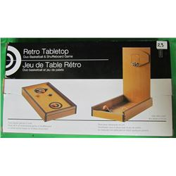 RETRO TABLETOP DUO BASKETBALL AND SHUFFLEBOARD GAME (NEW IN BOX) *WOOD*