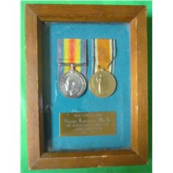 SET OF MEDALS IN FRAME (PRIVATE #721114 CLAUDE LAWRENCE MACFIE) *THE WINNIPEG GRENADIERS 78TH BATTAL