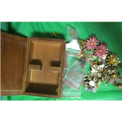 LOT OF ASSORTED COSTUME JEWELERY AND LAPEL PINS IN WOODEN JEWELERY BOX