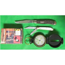 """LOT INCLUDING 2 JACKKNIFES AND LENSAMATIC COMPASS (KNIFE #1=7"""" LONG, STAG-IRELAND, KNIFE 2=5"""" LONG,"""