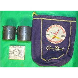 LOT CONTAINING ITALIAN MAKEUP COMPACT, 2 SILVER PLATED CUPS, CELEBRATE SASKATCHEWAN CROWN ROYAL BAG