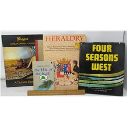 LOT OF 5 BOOKS (FOUR SEASONS WEST, THE WIT OF THE IRISH, HEARALDRY, BIGGAR SK., AMERICAN MOUNTAIN SO