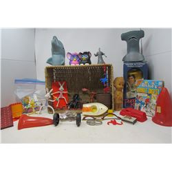 BASKET OF VINTAGE TOYS AND FIGURINES (SEAGRAMS 5 STAR EMBLEMS, FURBY, HASBRO WEEBLES, BARREL OF MONK