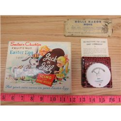 "LOT OF ASSORTED ITEMS INCLUDING A RAZOR HONE, CHOCOLATE TIN & ""BABY COMMANDER"""