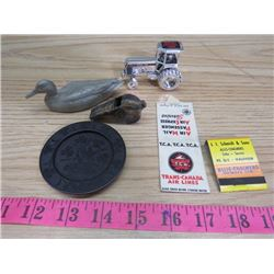 LOT OF MISCELLANEOUS ITEMS INCLUDING ADVERTISING MATCHES, OLD WHISTLE, ETC.