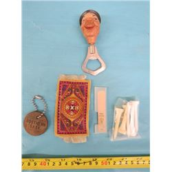LOT OF ASSORTED ITEMS INCLUDING BOTTLE OPENER, GOLF TEES, ETC.