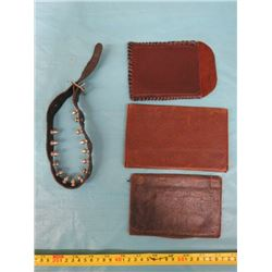 LOT OF WALLETS AND STUDDED DOG COLLAR