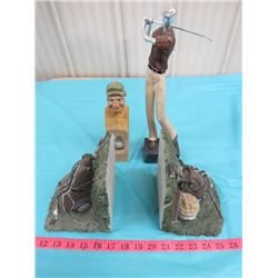 GOLF BOOK ENDS AND GOLF STATUES