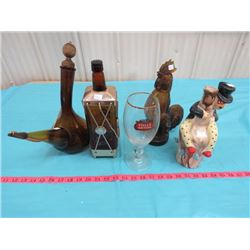 LOT OF ASSORTED DECANTERS & GLASS