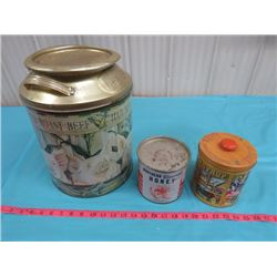LOT OF ASSORTED TINS (AUNT JEMIMA, NORTHERN BLOSSOMS HONEY, ETC.)