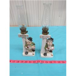 """LOT OF 2 OIL LAMPS (11.5"""" TALL AND 12"""" TALL)"""