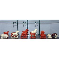 14 FARM ANIMALS MADE OF HARD RUBBER. UNKNOWN MFG.
