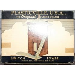 PLASTICVILLE SWITCH TOWER. COMPLETE. HAS GLUE MAR