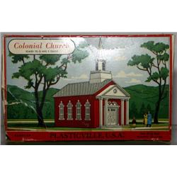 PLASTICVILLE COLONIAL CHURCH. RED, WHITE WINDOWS
