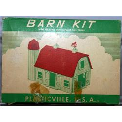 PLASTICVILLE BARN. RED WALLS AND TRIM, WHITE ROOF