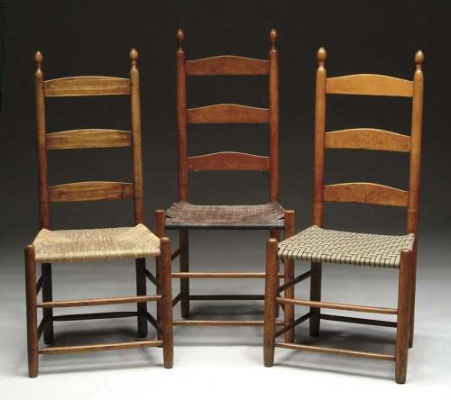 THREE SHAKER LADDER BACK CHAIRS. Loading Zoom