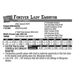 Lot - 31C - Forever Lady Embryos
