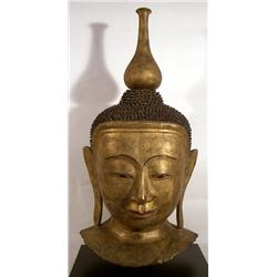A SPLENDID SHAN PAPIER MACHE GILDED HEAD OF BUDDH