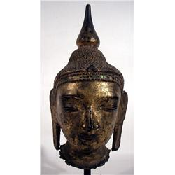 A SUPERB SHAN PAPIER MACHE GILDED HEAD OF BUDDHA,
