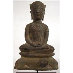 A RARE AYUTTHAYA BRONZE BUDDHA,c.16th Century of