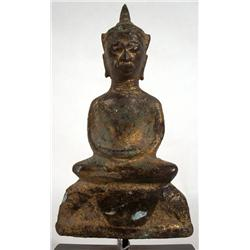 A RARE AYUTTHAYA GILDED BRONZE BUDDHA,c.16th Cent