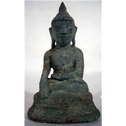 A RARE SHAN BRONZE BUDDHA,c.18th Century of dimin