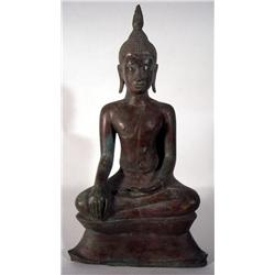 A SUPERB BRONZE THAI BUDDHA,c.19th Century, seate