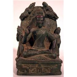 A FINE INDIAN BRONZE BUDDHA,c.17th Century, seate