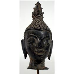 A FINE AYUTTHAYA BRONZE HEAD OF BUDDHA,c.16th Cen